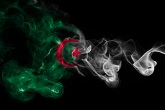 Algeria national smoke flag. Algeria smoke flag isolated on a black background Royalty Free Stock Photo