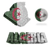 Algeria Symbols. Algeria flag and map in different styles in different textures Stock Photos