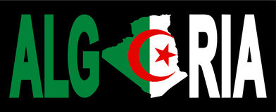 Algeria text with map. On flag illustration Royalty Free Stock Photos