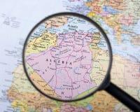 Algeria under magnifier. Destination Algeria under magnifying glass Stock Image