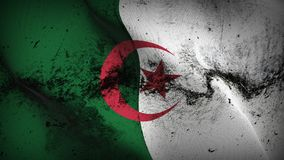 Algeria grunge dirty flag waving on wind. Algerian background fullscreen grease flag blowing on wind. Realistic filth fabric texture on windy day Royalty Free Stock Photos