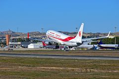 Air Algerie Plane Lifting Off From Alicante Airport Royalty Free Stock Photo