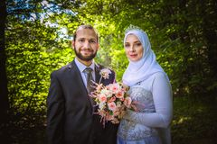 Algerian and Canadian Marriage. A boxer from Algeria and a member of Canadian Armed Forces get married in Canada Stock Photography