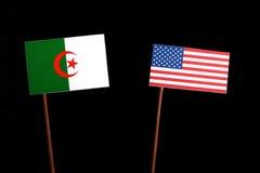 Algerian flag with USA flag isolated on black Stock Photography