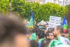 Algerians manifesting against temporary president Bensalah in Algiers, Algeria. Algerian protestant manifesting against the president Bouteflika government and royalty free stock images