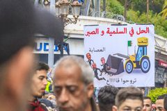 Algerians manifesting against temporary president Bensalah in Algiers, Algeria. Algerian protestant manifesting against the president Bouteflika government and stock image