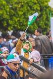 Algerians manifesting against president Bouteflika regime in Algiers, Algeria. Algerian protestant manifesting against the president Bouteflika government and royalty free stock image