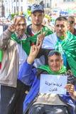 Algerians manifesting against president Bouteflika regime in Algiers, Algeria. Algerian protestant manifesting against the regime and wanting a system change stock images