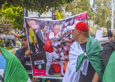 Algerians manifesting against temporary president Bensalah in Algiers, Algeria royalty free stock photography