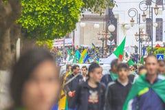 Algerians manifesting against temporary president Bensalah in Algiers, Algeria. Algerian protestant manifesting against the president Bouteflika government and royalty free stock image