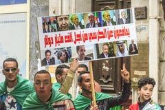 Algerians manifesting against temporary president Bensalah in Algiers, Algeria. Algerian protestant manifesting against the president Bouteflika government and stock photos