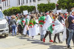 Students protesting against president Bouteflika in Algiers tuesday march 26th 2019 royalty free stock photography