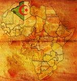 Algerien-alte Kartenmarkierungsfahne Stockbild