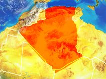 Algerien auf Erde vom Raum stock abbildung