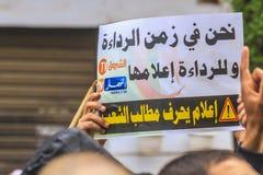 Algerier, die gegen Regime Präsidenten Bouteflika in Algier, Algerien verkünden stockfotografie