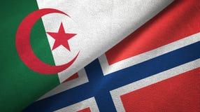 Algerije en Noorwegen twee vlaggen textieldoek, stoffentextuur royalty-vrije illustratie