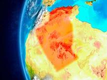 Algerije ter wereld van ruimte Stock Afbeeldingen