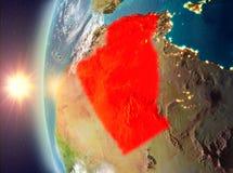 Algerije tijdens zonsondergang van ruimte Royalty-vrije Stock Afbeeldingen