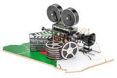 Algerijnse cinematografie, het concept van de filmindustrie het 3d teruggeven Stock Foto