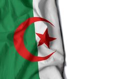 Algerijnse gerimpelde vlag, ruimte voor tekst Royalty-vrije Stock Foto