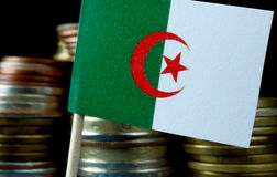 Algerijnse vlag die met stapel geldmuntstukken golven Stock Afbeelding