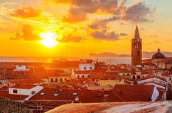 Alghero city, Sardinia. A sunset over Alghero city, Sardinia Royalty Free Stock Photo