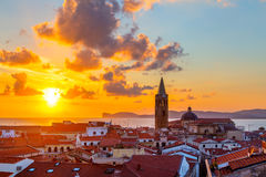Alghero city, Sardinia. A sunset over Alghero city, Sardinia Stock Photos