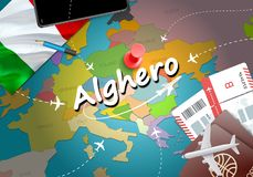 Alghero city travel and tourism destination concept. Italy flag. And Alghero city on map. Italy travel concept map background. Tickets Planes and flights to vector illustration