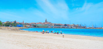 Alghero cityscape seen from the beach Royalty Free Stock Images