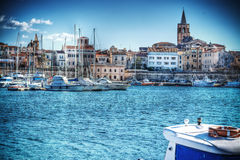 Alghero harbor on a clear spring day in hdr Royalty Free Stock Images