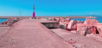 Alghero harbor in pink Stock Photo