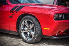 Close up of a red Dodge Challenger R/T at American Motor Festiva Royalty Free Stock Images