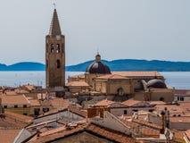 Alghero, Italy. Panoramic aerial view of Alghero, Sardinia, Italy Stock Photos