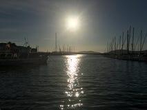 Alghero marina på solnedgången Royaltyfri Bild