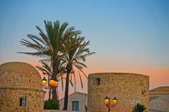 Alghero old town by night Stock Image