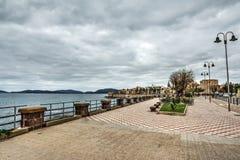Alghero promenade under an overcast sky Stock Photo