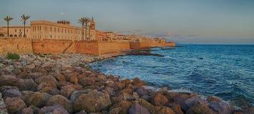 Alghero, Sardinia Island, Italy in the sunset Stock Photography