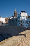 Alghero, Sardinia, Italy. View on Alghero from the seaside royalty free stock photo