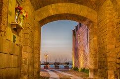 Alghero (Sardinia) at night stock photos