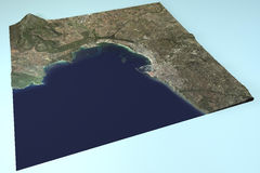 Alghero, satellite view, map, Sardinia, Italy Stock Photo