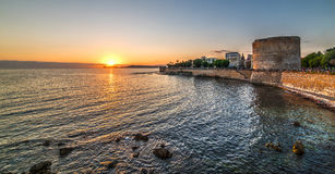 Alghero seafront at sunset Stock Images