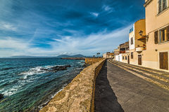 Alghero seafront in winter Stock Image