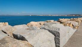 Alghero som ses från hamnen Fotografering för Bildbyråer