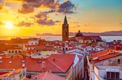 Alghero stad, Sardinia Royaltyfria Bilder