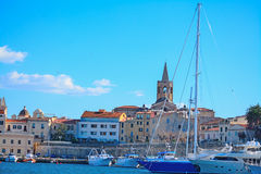 Alghero steeple seen from the harbor Stock Image