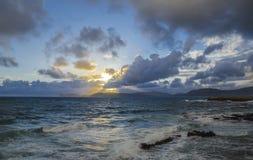 Alghero, sunset on Capo Caccia, Sardinia, Italy Stock Photos