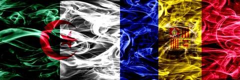 Algieria, algierczyk vs Andorra, Andorran dymu flaga umieszczająca strona strona - obok - Pojęcia i pomysłu flag mieszanka ilustracji