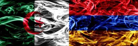Algieria, algierczyk vs Armenia, ormianina dymu flaga umieszczająca strona strona - obok - Pojęcia i pomysłu flag mieszanka ilustracja wektor