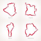Algieria, Angola, Benin i Botswana, - kontur mapa royalty ilustracja