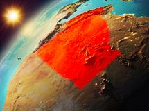 Algieria na planety ziemi w zmierzchu Zdjęcie Stock